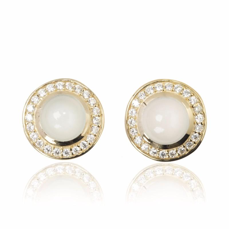 Melissa Lo Aria Aqua Chalcedony Earrings Gold