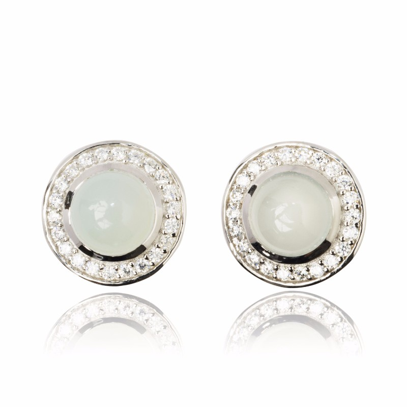 Melissa Lo Aria Aqua Chalcedony Earrings Silver
