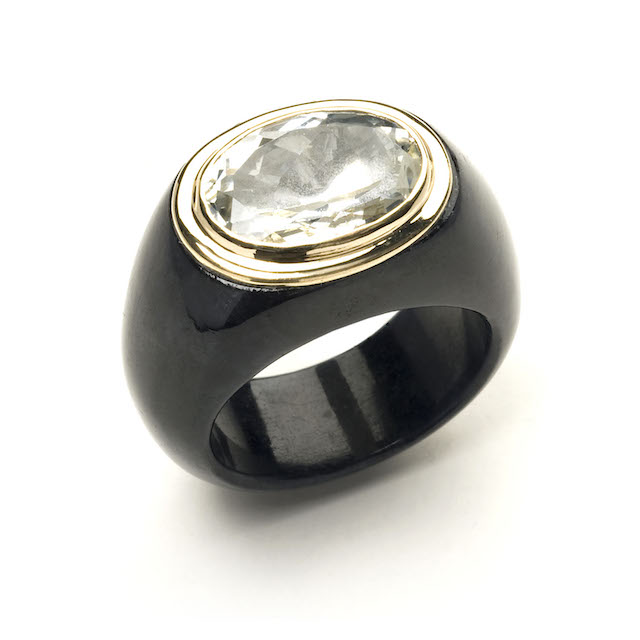 Melissa Lo Black Jade Ring oval White topaz