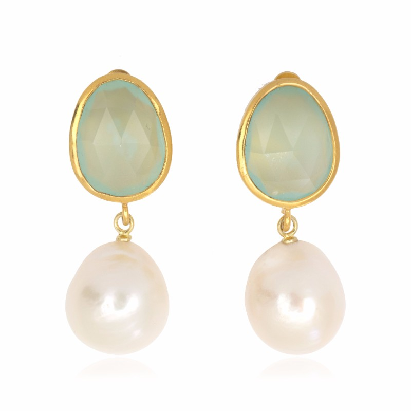 Melissa Lo Capri Pebble Drop Earrings Aqua chalcedony