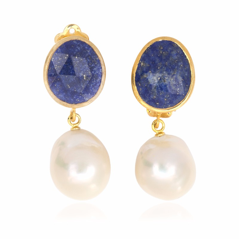 Melissa Lo Capri Pebble Drop Earrings Lapis lazuli