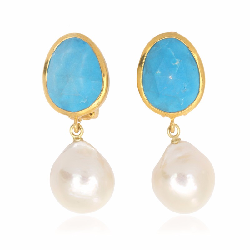 Melissa Lo Capri Pebble Drop Earrings Turquoise