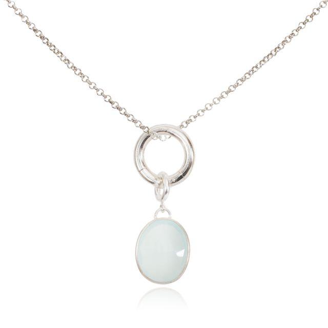 Melissa Lo Charm Necklace Aqua Chalcedony Charm Silver