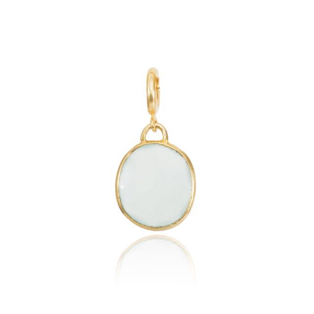 Charm Necklace Aqua Chalcedony Drop Gold