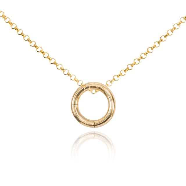 Melissa Lo Charm Necklace. Chain and O Ring Gold