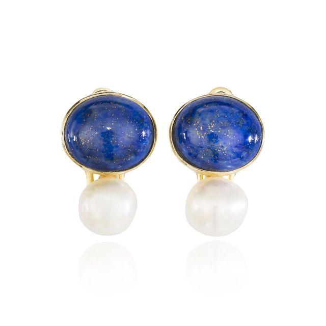 Melissa Lo Coco Cabochon Lapis Lazuli and Pearl