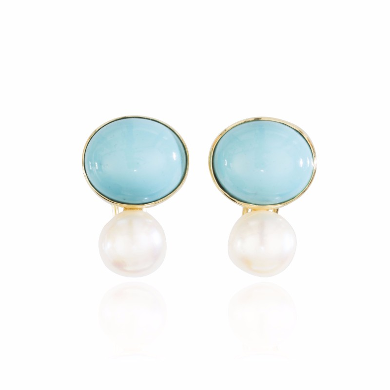 Melissa Lo Coco Cabochon Turquoise and pearl
