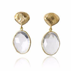 Melissa Lo Crystal pebble stud earring