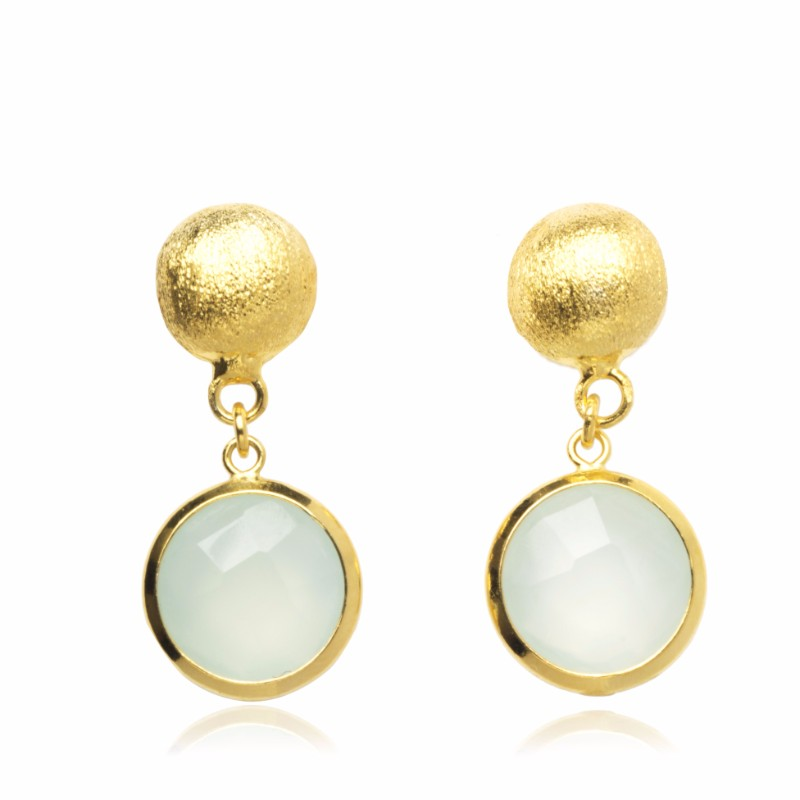 Melissa Lo Ella Pebble stud and Aqua Chalcedony drop