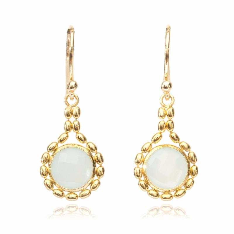 Melissa Lo Ella Aqua Chalcedony drop earring