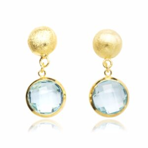Melissa Lo Ella Pebble stud and blue topaz drop