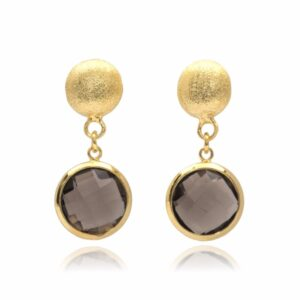 Melissa Lo Ella Pebble stud and smoky quartz drop