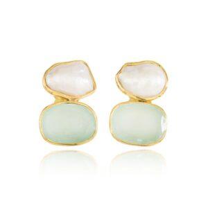 Melissa Lo Indra Earring Aqua Chalcedony and pearl