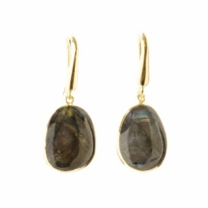 Melissa Lo Pebble Earrings Labradorite