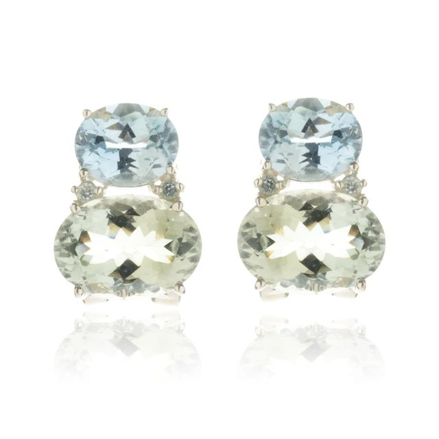 Melissa Lo Nova Earrings Blue Topaz and Green Amethyst