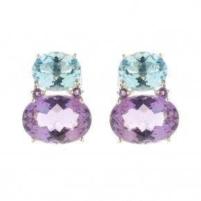 Melissa Lo Nova Earrings Blue Topaz and Amethyst