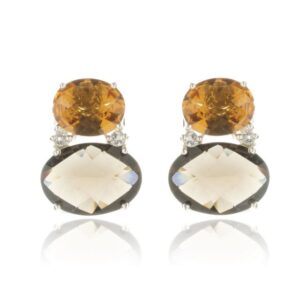 Melissa Lo Nova Earrings Smoky Quartz and Citrine