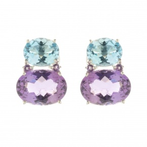 Melissa Lo Nova Earrings Blue Topaz and Amethyst