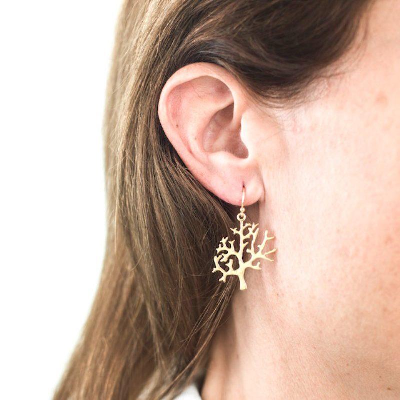 Melissa Lo Tree earrings gold bodyshot