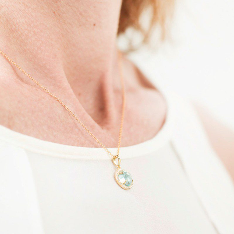 Melissa Lo atalanta necklace blue topaz bodyshot