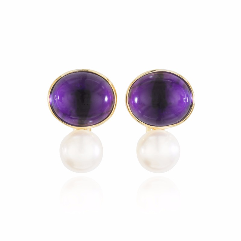Coco Cabochon Amethsyt And Pearl Clip On Earrings