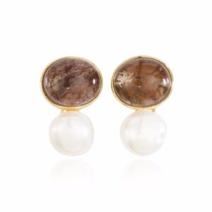 Melissa Lo Coco Cabochon Smoky Quartz and Pearl