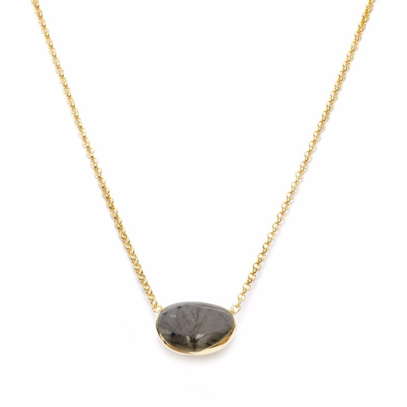 Melissa Lo Pebble Necklace Labradorite