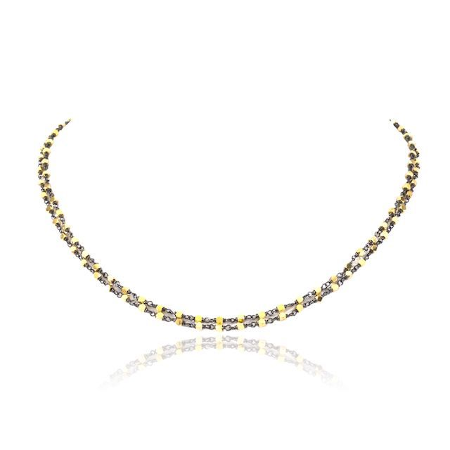 Melissa Lo Luna Necklace Gold beads with blackened silver