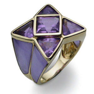 Melissa Lo Lilac jade and Amethyst star ring 14K gold
