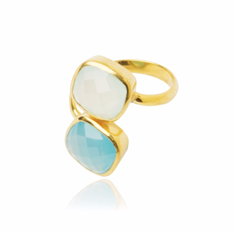 Melissa Lo Twin Ring Aqua Chalcedony and Blue Chalcedony