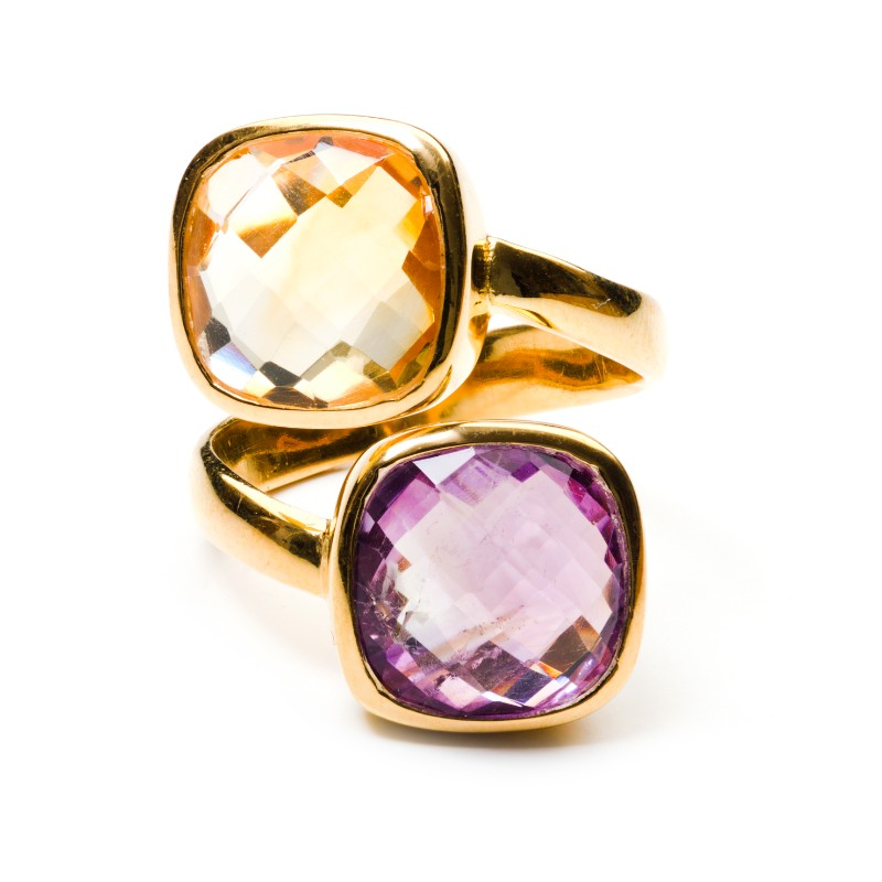 Melissa Lo Twin Ring Citrine and Amethsyt